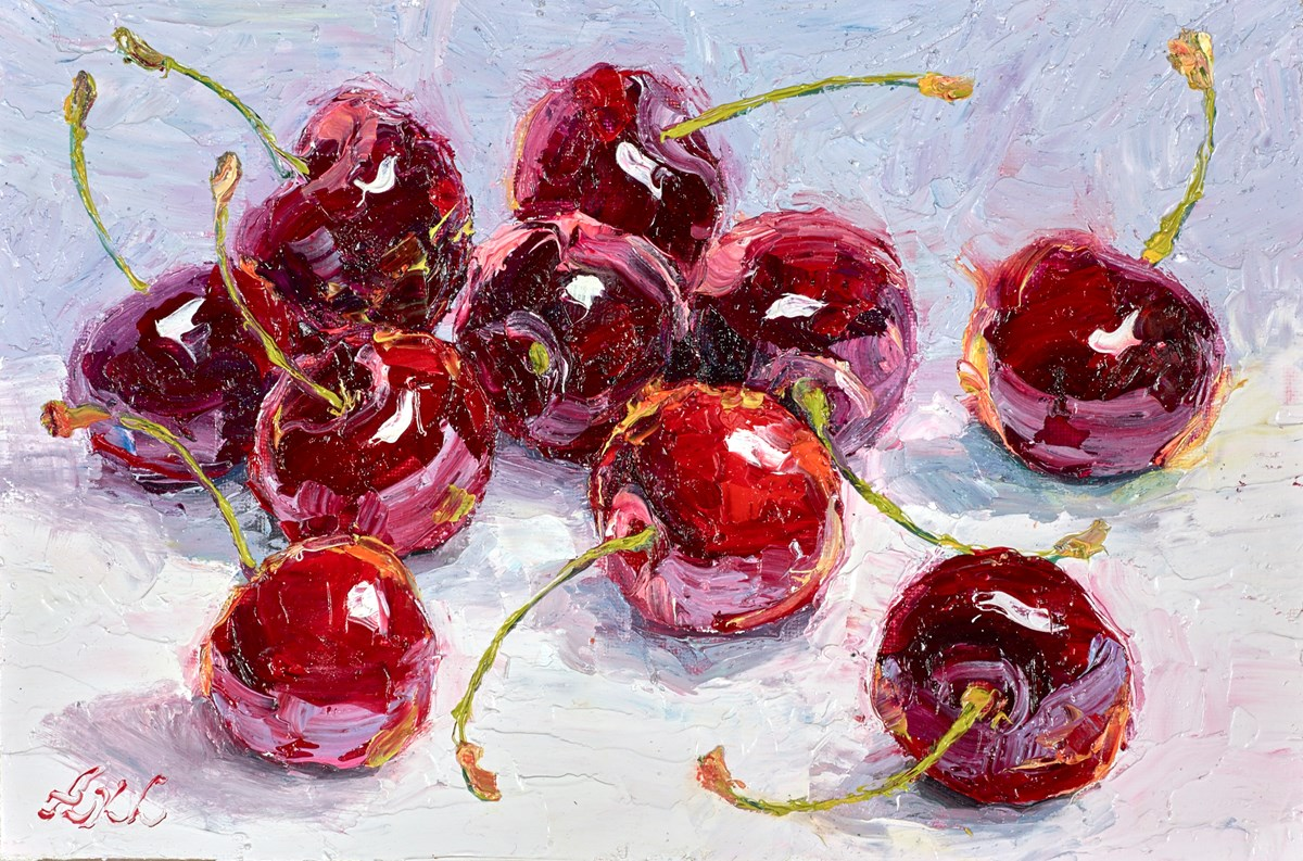Sweet Fresh Cherries III by lana okiro -  sized 9x6 inches. Available from Whitewall Galleries